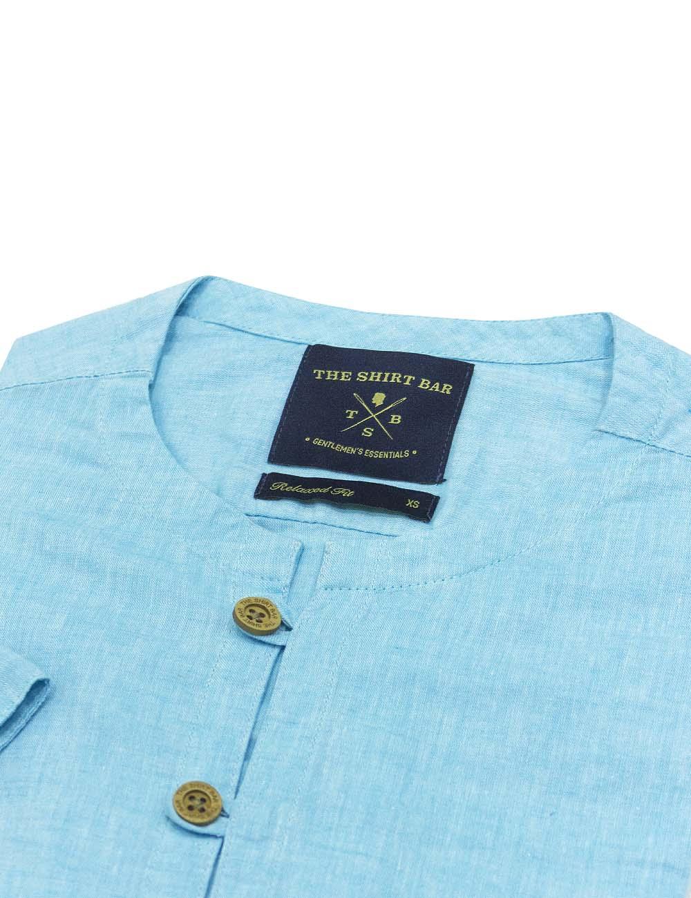 Turquoise Linen Mandarin Collar Half Placket Custom / Relaxed Fit Short Sleeve Shirt – RF39S2.19
