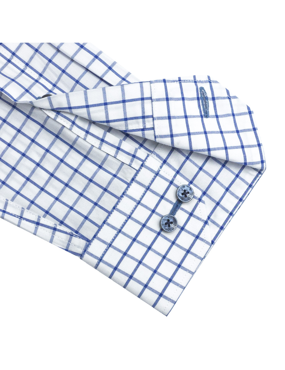 White with Blue Checks Slim / Tailored Fit Long Sleeve Shirt - TF2A17.20