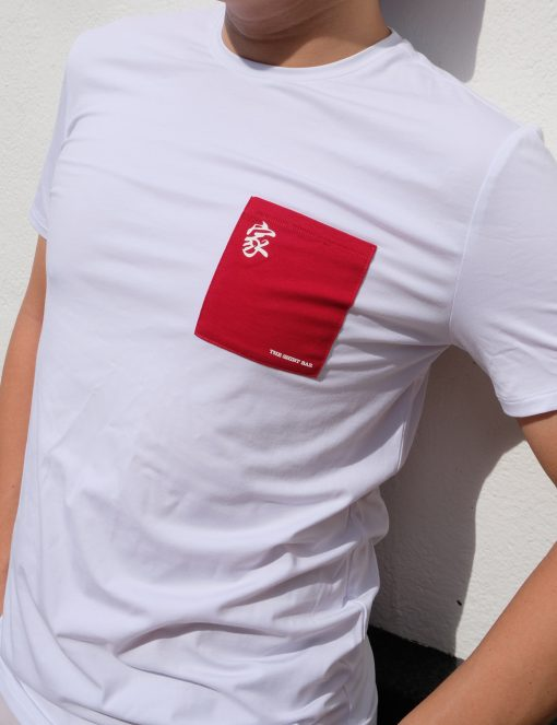 'Home' White with Red Pocket Cotton Stretch Crew Neck Custom Fit T-Shirt - TS4A2.4