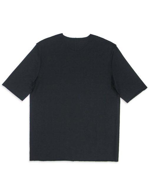 Black Raw Edge Half Sleeve Reversible Premium Cotton Stretch Comfort Fit T-Shirt - TS2C1.3
