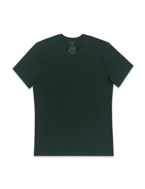 Deep Green Premium Cotton Stretch V Neck Slim Fit T-Shirt - TS3A4.4