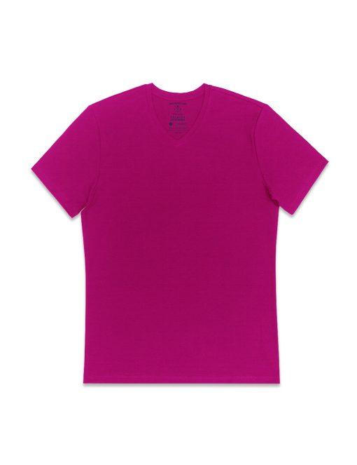 Teaberry Pink Premium Cotton Stretch V Neck Slim Fit T-Shirt - TS3A5.4