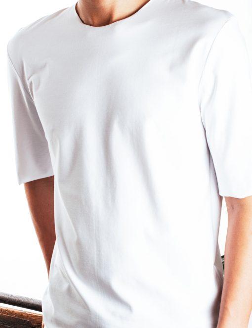 White Raw Edge Half Sleeve Reversible Premium Cotton Stretch Comfort Fit T-Shirt - TS2C2.3