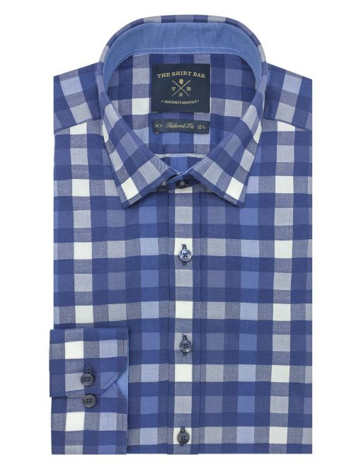 Blue Checks 2 Ply Slim / Tailored Fit Long Sleeve Shirt TF2A9.20