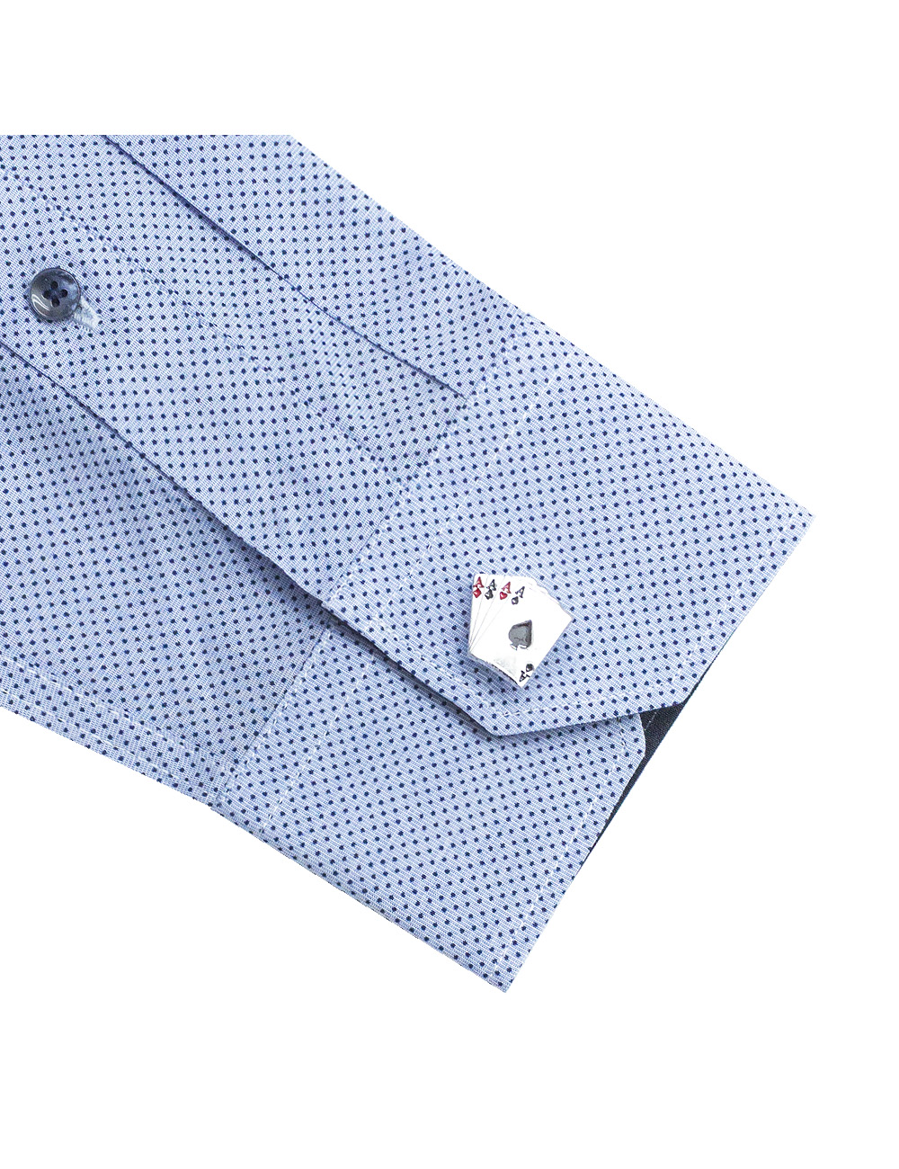 Blue With Navy Polka Dots Slim / Tailored Fit Long Sleeve Shirt - TF2A20.20