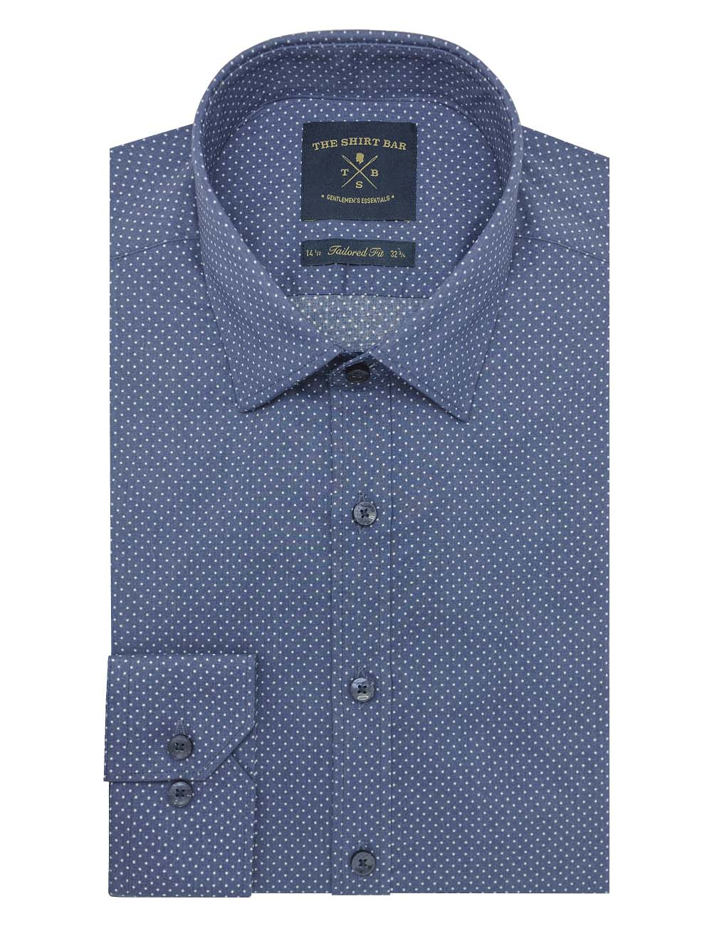 Blue With White Polka Dots Print Slim / Tailored Fit Long Sleeve Shirt - TF2A6.20