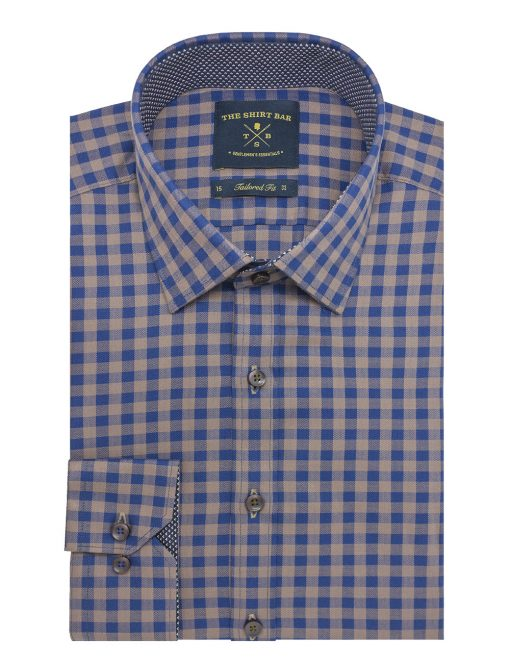Navy And Brown Checks Slim / Tailored Fit Long Sleeve Shirt - TF2A27.20