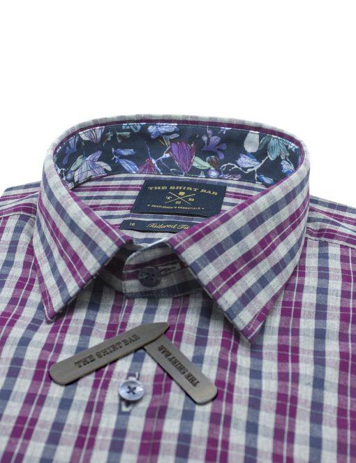 Pink/ Grey/ Navy Checks Slim / Tailored Fit Long Sleeve Shirt - TF2A29.20