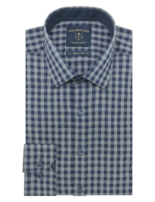 Navy And Grey Checks Slim /Tailored Fit Long Sleeve Shirt - TF2A10.20