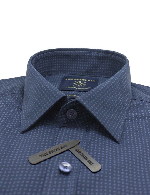 Navy With Blue Paisley Print Slim / Tailored Fit Long Sleeve Shirt - TF2A7.20