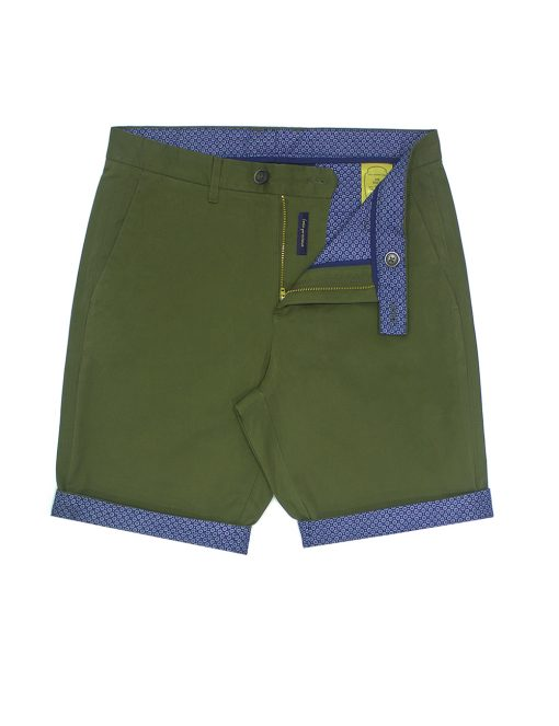 Army Olive Green Cotton Stretch Slim Fit Casual Shorts - CSA12.5