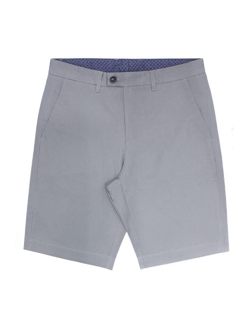 Grey Cotton Stretch Slim Fit Casual Shorts - CSA9.5