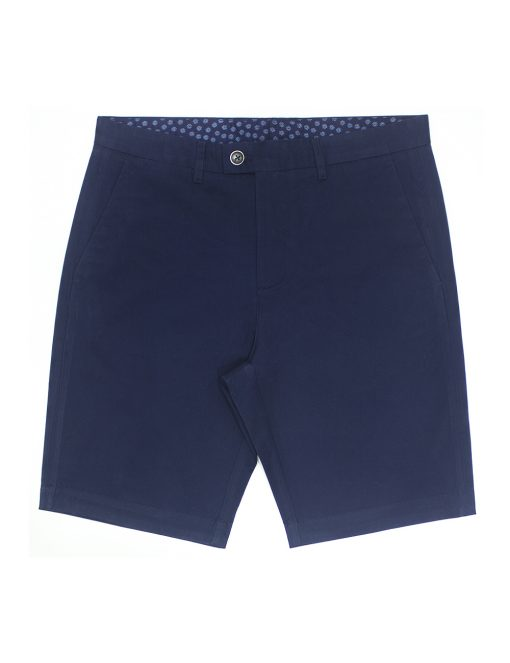 Navy Cotton Stretch Slim Fit Casual Shorts - CSA8.5