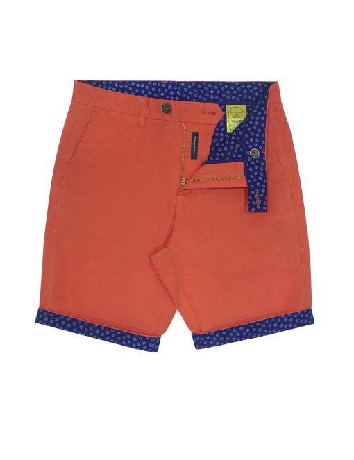Orange Cotton Stretch Slim Fit Casual Shorts CSA15.5